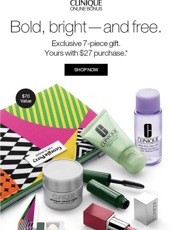 Clinique: -it's going fast—and it's all FREE! 7-piece Online Bonus + more with purchase. | Milled