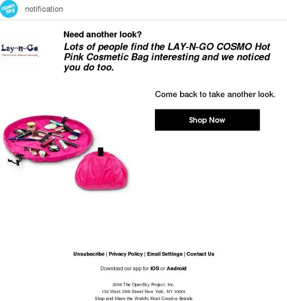 4c350f6427 Opensky  Take another look! LAY-N-GO COSMO Hot Pink Cosmetic Bag ...