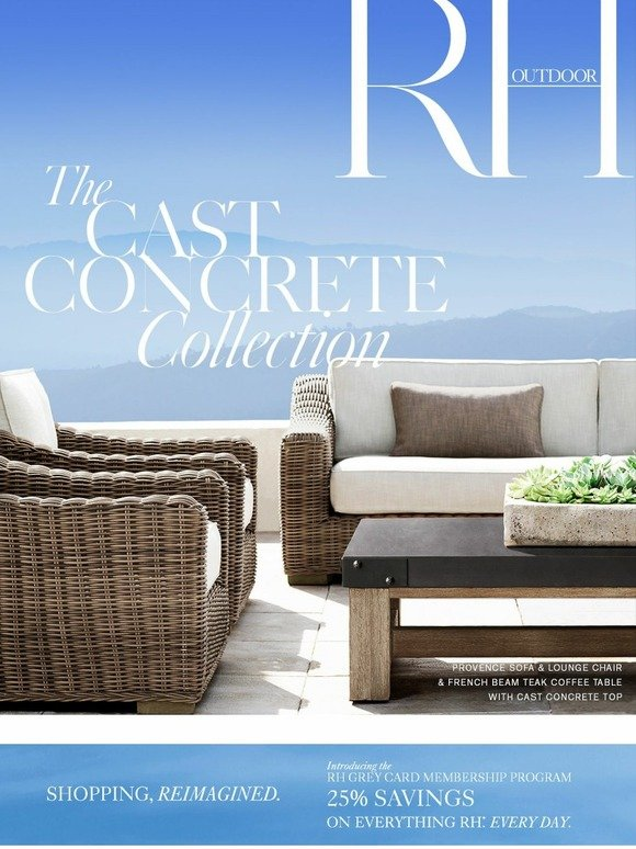 Restoration Hardware: Our Outdoor Cast Concrete and Teak Collections | Milled