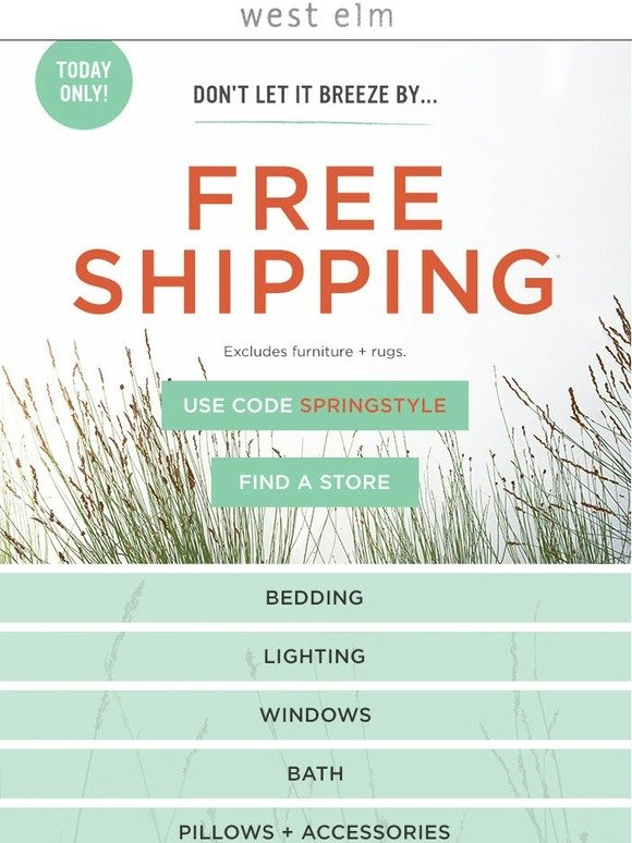 West Elm 24 Hours Of Free Shipping Awaits Milled