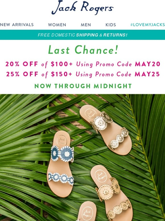For coastal apparel and nautical fashion, head to Jack Rogers to find boat-ready looks and seaside shoes perfect for a day at the beach. In this clearance sale, find items like striped jelly sandals, waterproof booties and wedges at discounts of 47%.
