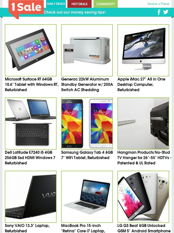 1 Sale A Day: MacBook Pro $1,100 - Dell Latitude $500 - Surface RT