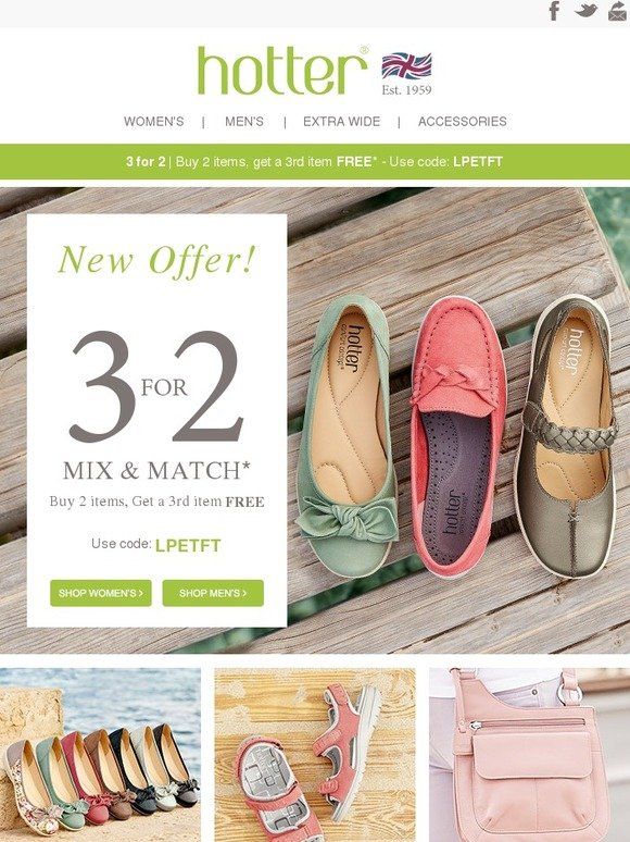 f812f1b3 Hotter Shoes: 3 For 2 Now On! Buy 2 Items Get A 3rd Item Free   Milled