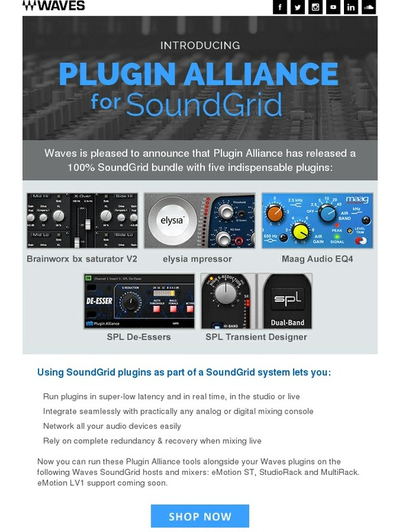 Waves Audio: Introducing Plugin Alliance's 100% SoundGrid Bundle