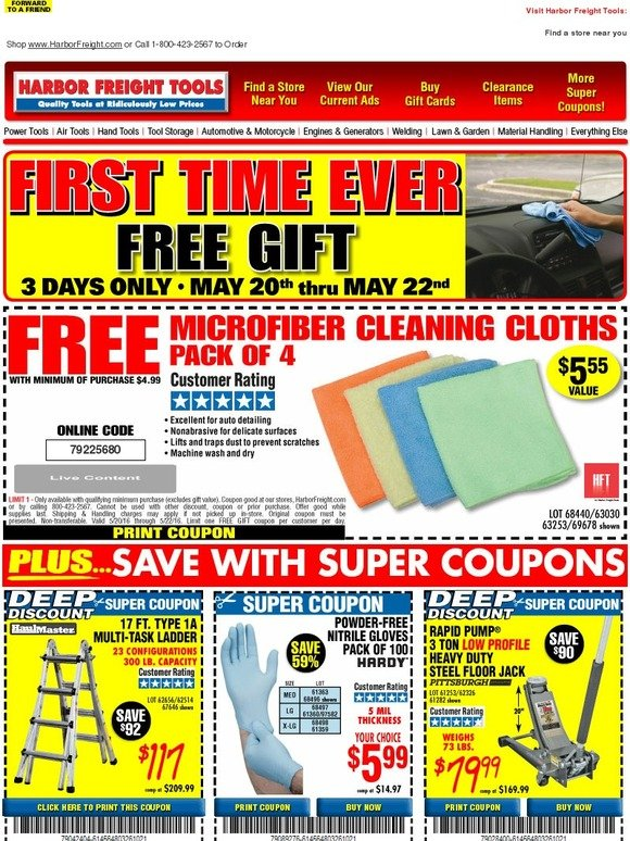 harbor freight first time ever new free gift microfiber cleaning cloths 3 days only. Black Bedroom Furniture Sets. Home Design Ideas