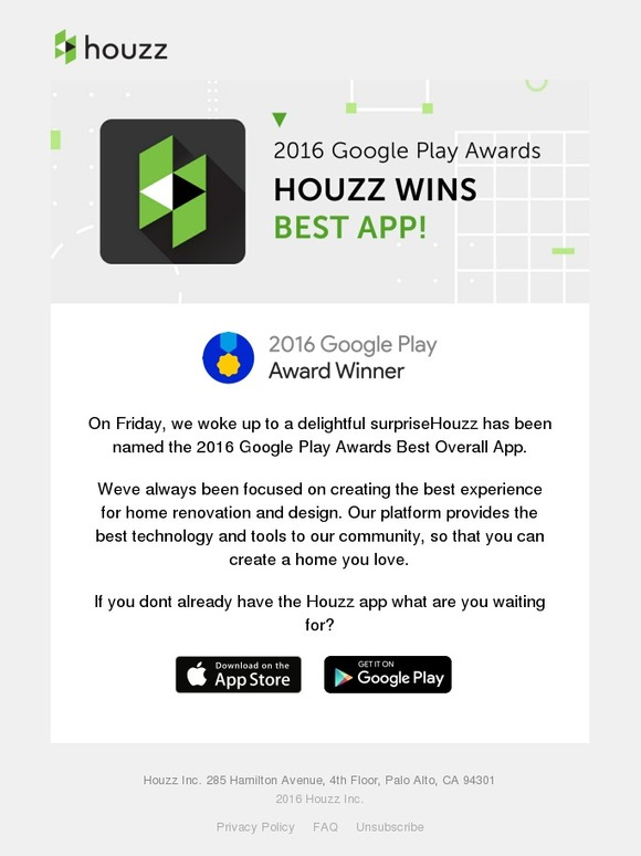 Houzz Google Names Houzz Best App Of 2016 Milled