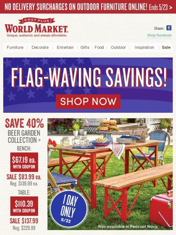 Cost Plus World Market Memorial Day Madness Save 40 On Beer Garden Outdoor Collection Milled