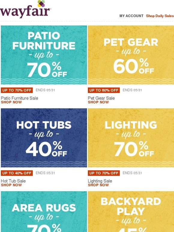 Wayfair Up to 70% OFF patio furniture Shop our Memorial Day Super Sale for