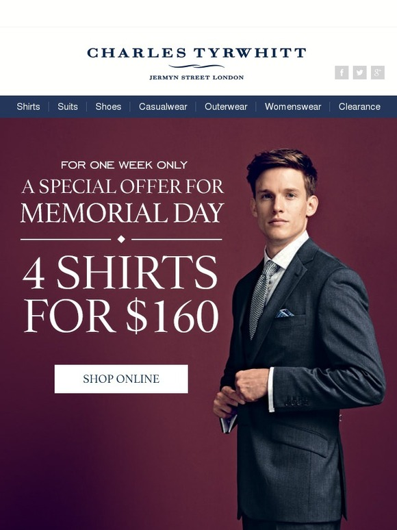 Charles Tyrwhitt Memorial Day Special 4 Shirts For 160