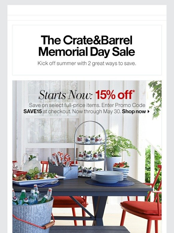 Awe Inspiring Crate And Barrel 15 Off Our Memorial Day Sale Starts Now Beutiful Home Inspiration Xortanetmahrainfo