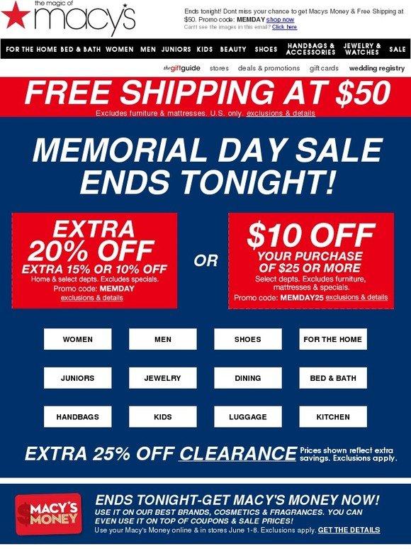7b91718da4da Macy s  Last chance to get Macy s Money + Free Shipping at  50!
