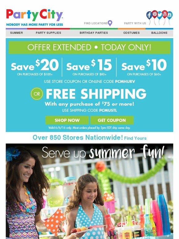 Expired and Not Verified Party City Promo Codes & Offers. These offers have not been verified to work. They are either expired or are not currently valid.