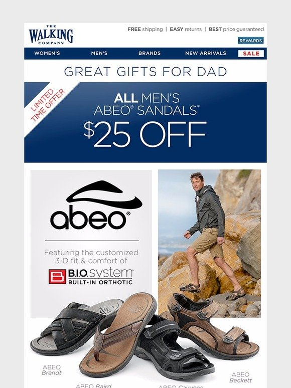 2aefbb2adcc2 The Walking Company   25 Off Men s ABEO Sandals - Limited Time Offer ...