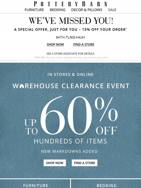 Pottery Barn See What S New At The Warehouse Clearance