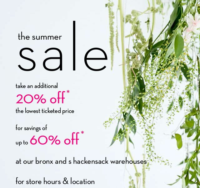 abc carpet & home: the warehouse sale is on. add 20% off to all