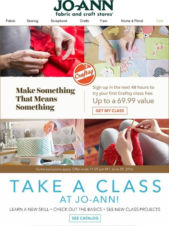 Jo Ann Fabric And Craft Store Enjoy A Free Craftsy Online Class Sign Up Now Milled