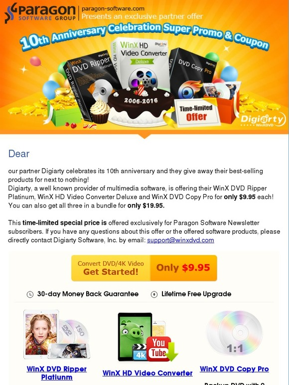 Paragon Software: 10th anniversary: Get WinX DVD Ripper