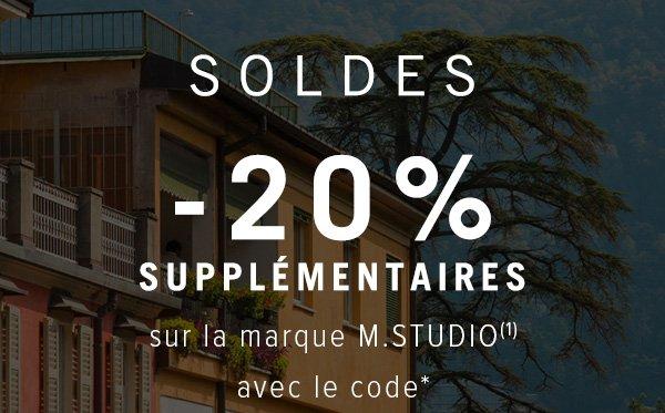 soldes -20% supplémentaires sur la marque M.STUDIO avec le code