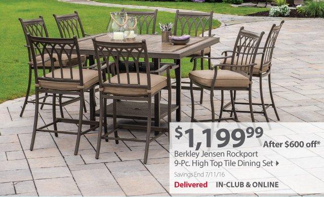 Berkley Jensen Rockport 9Pc High Top Tile Dining Set