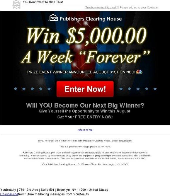 YouBeauty: Win $5,OOO OO A Week