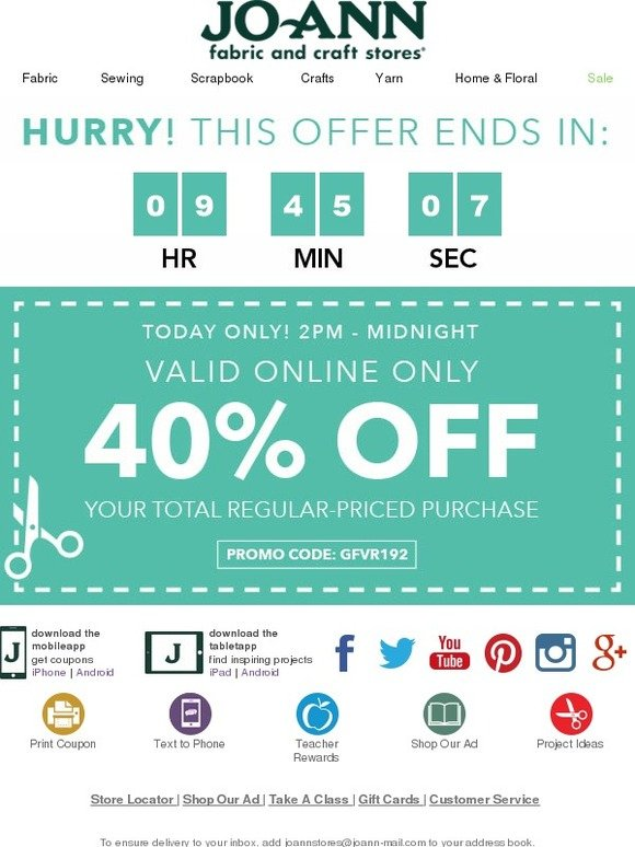 Jo ann fabric and craft store online flash sale hurry it for Joann craft store hours