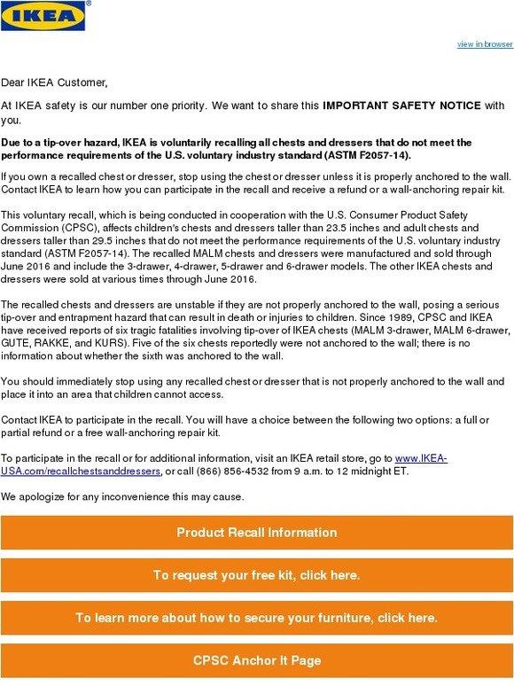 ikea important ikea safety notice milled. Black Bedroom Furniture Sets. Home Design Ideas