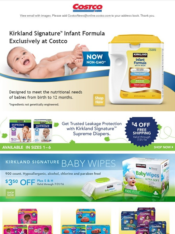 costo free shipping on kirkland signature formula diapers and wipes plus more items for baby. Black Bedroom Furniture Sets. Home Design Ideas