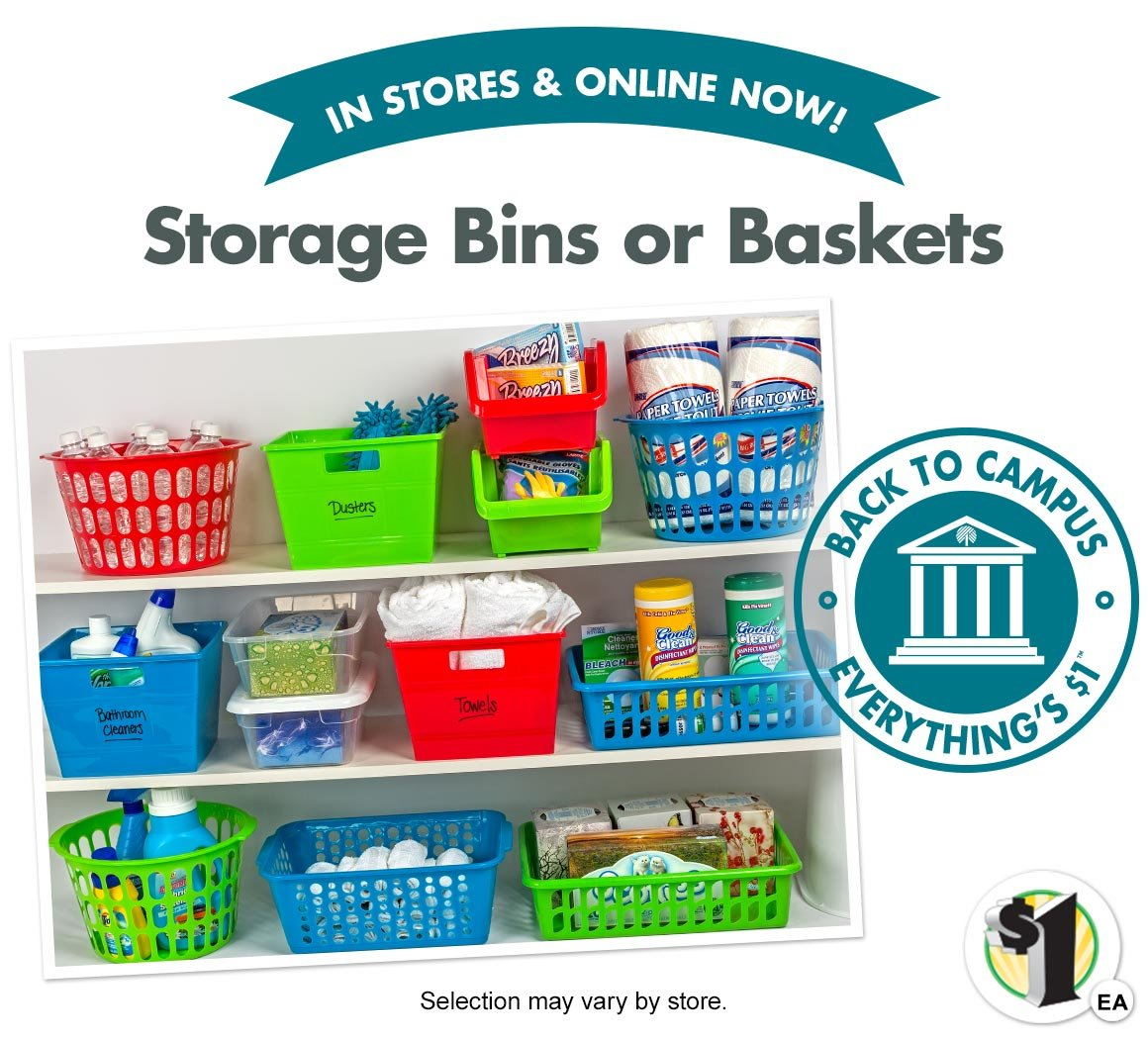 In stores now storage bins and baskets selection may vary by store