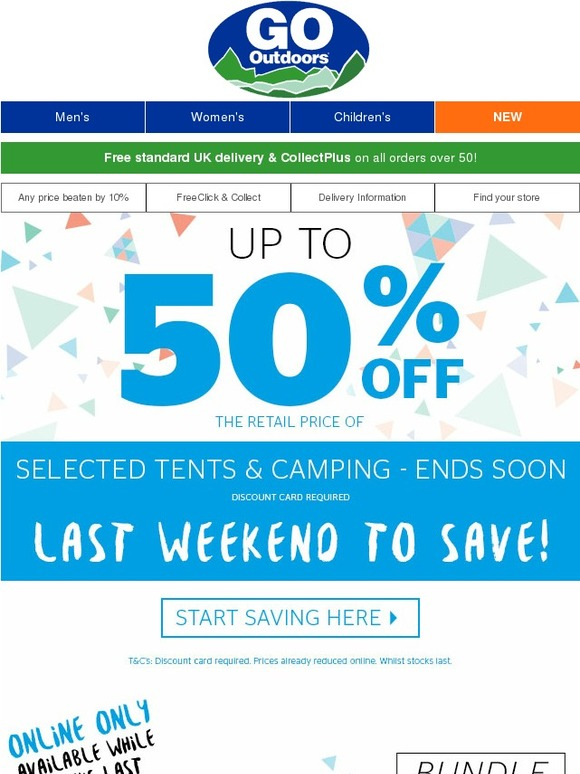 go outdoors last call up to 50 off tents camping don. Black Bedroom Furniture Sets. Home Design Ideas