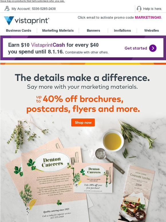 Vistaprint last day to save up to 40 on postcards flyers and brochures milled for Flyers vistaprint