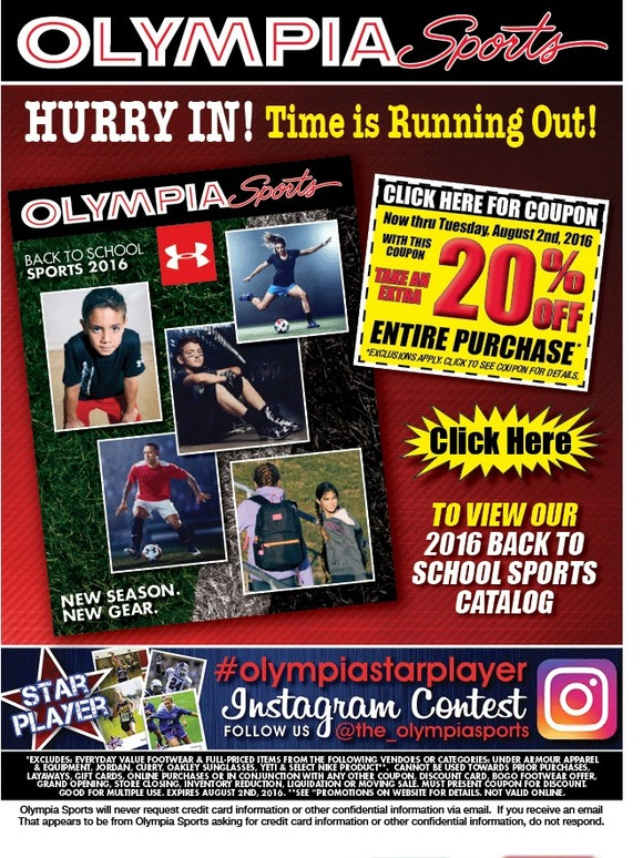 Olympia Sports Get Your 10 Off 30 Coupon Milled