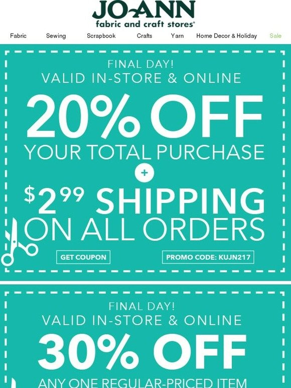 Jo ann fabric and craft store savings boost ends today for Jo ann fabric and craft coupons