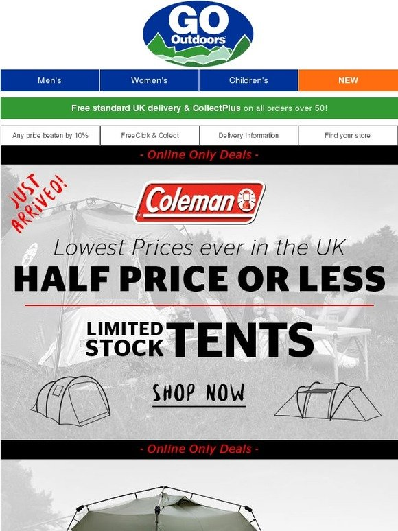 go outdoors half price coleman tents limited stock. Black Bedroom Furniture Sets. Home Design Ideas