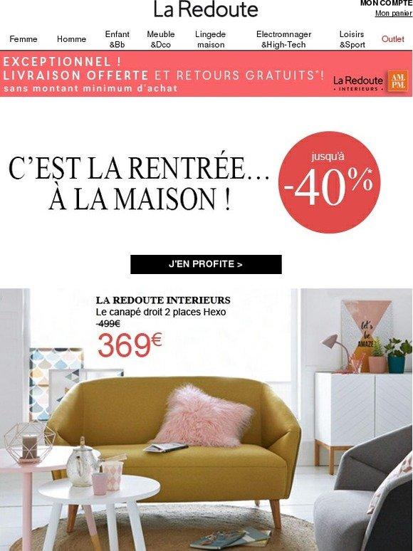 la redoute fr apr s les vacances retrouvez votre home sweet home milled. Black Bedroom Furniture Sets. Home Design Ideas