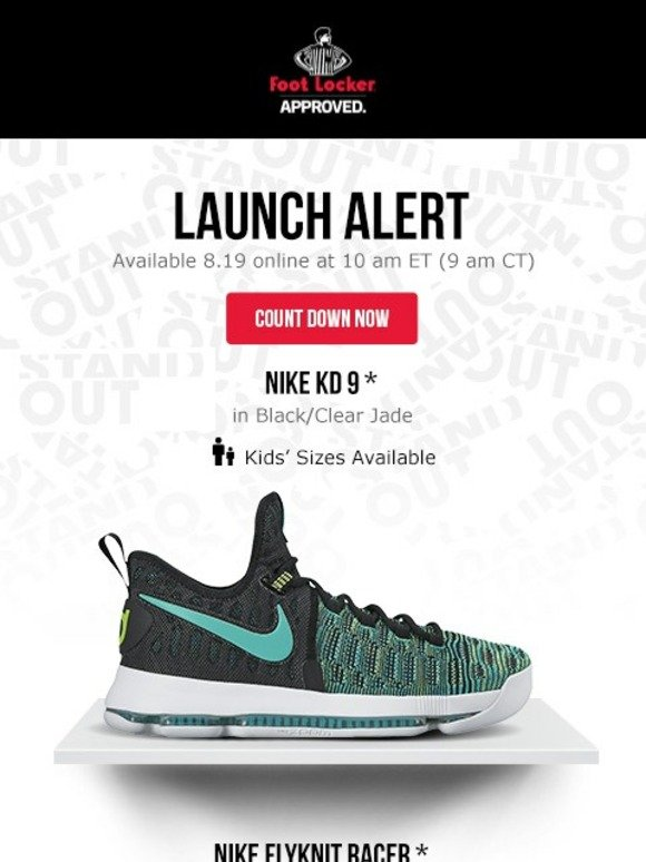 a8728a14f Foot Locker  Releasing tomorrow  the KD 9 and the Flyknit Racer