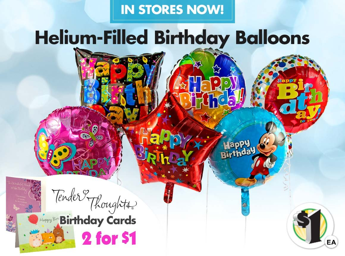 Helium Filled Birthday Balloons In Stores Now Just 1 Each