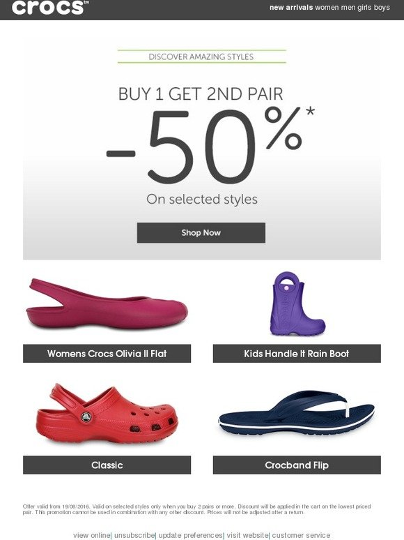 Crocs: Ends soon: buy one get one, at