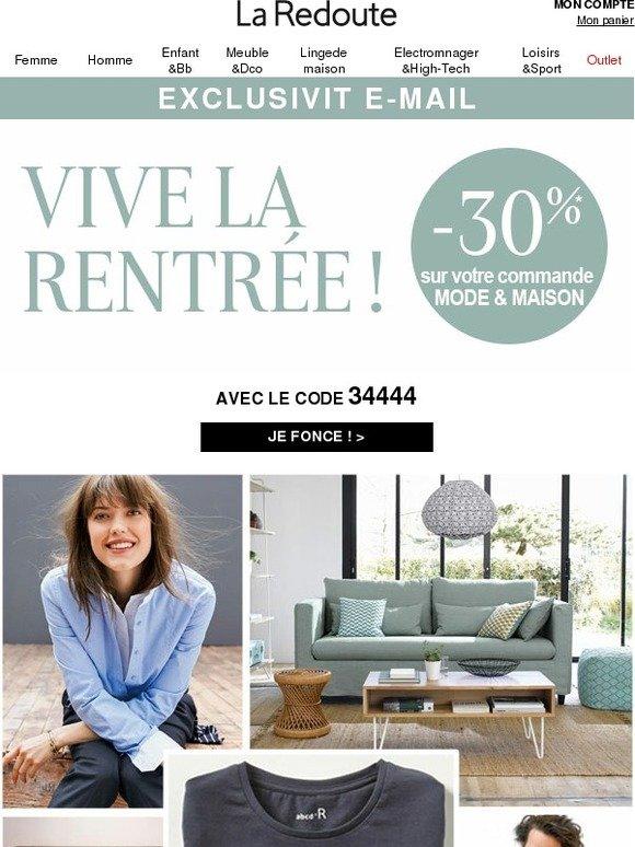 la redoute fr 30 sur votre commande mode maison pour. Black Bedroom Furniture Sets. Home Design Ideas