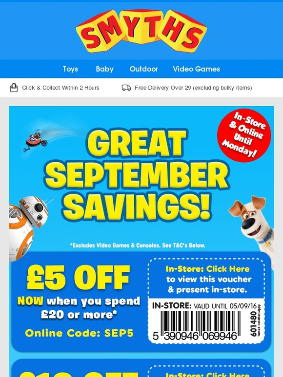 20% off Smyths Smyths do this great offer every year in the run up to Christmas and it's a great way to make some great savings on the must have toys! **UPDATE** SMYTHS run this offer every year and every year they deny it is happening. This is to avoid people holding off buying as they know people will wait for the 20% off event instead.