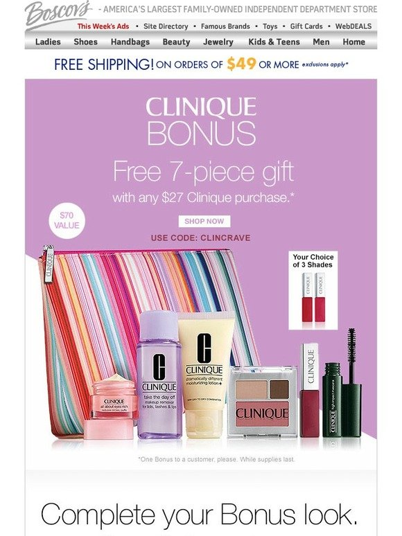 Boscov's: It's Clinique Bonus Time | Get Yours Now | Milled