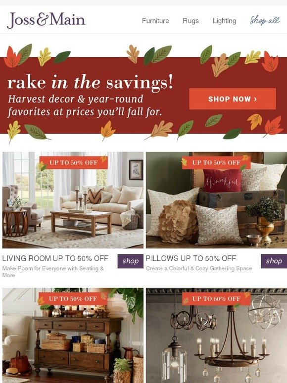 Living Room 50 Off Food joss & main: rake in the savings! living room furniture to make