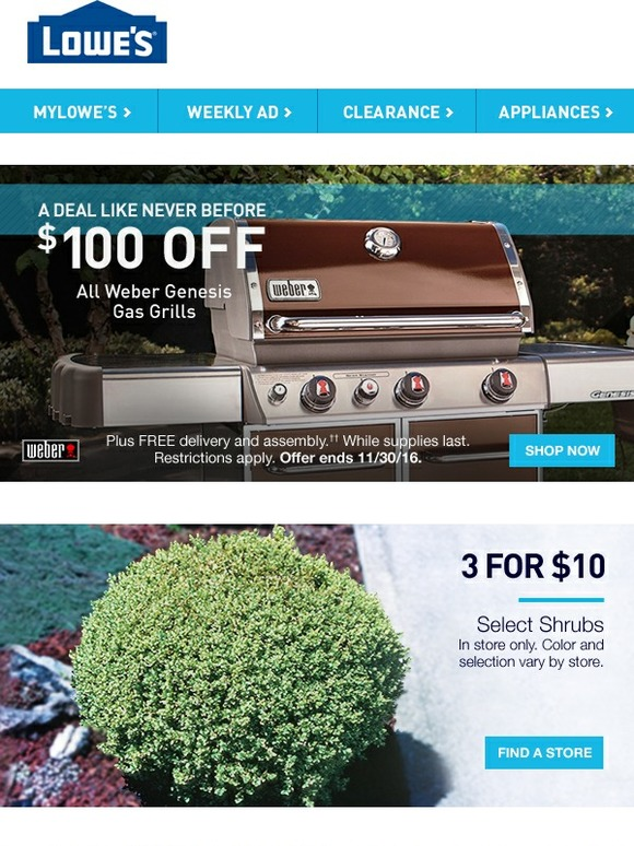 Lowes Fire Up The Savings 100 Off Weber Genesis Grills