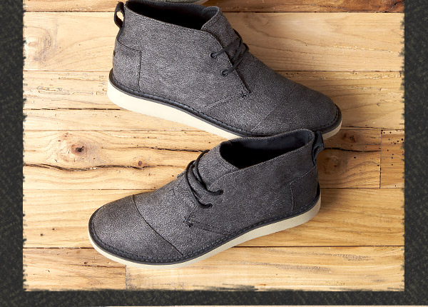 Charcoal Herringbone Men's Mateo Chukka Boots