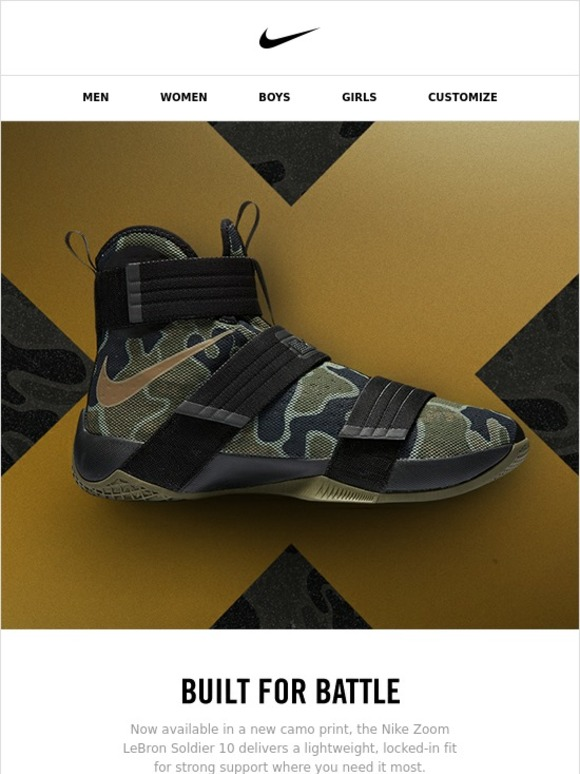 33ea36acd0a Nike  The LeBron Soldier 10  Camo