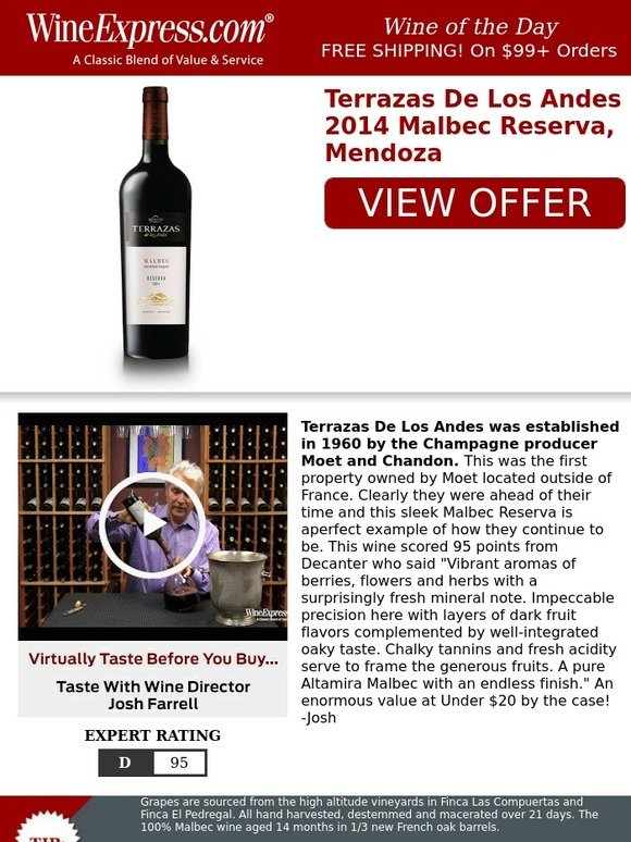 Wine Enthusiast 95 Pt Under 20 By The Case Malbec Reserva