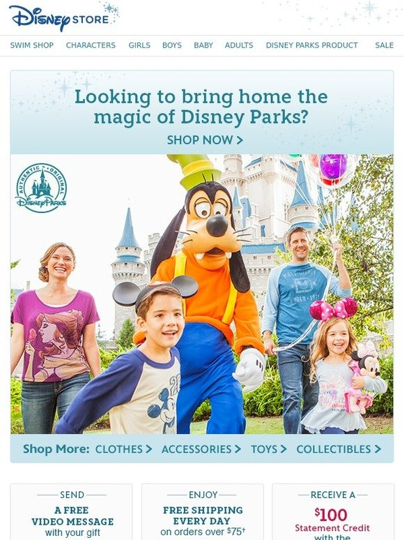 Very special Special Offers. Check out special offers including Deal of the Week and Free Shipping at shopDisney. Free Shipping on orders of $75 or more! Code: SHIPMAGIC   Restrictions Apply. See All Offers. Special Offers. See fine print for 25% Off $ promotion. 25% Off $+ Sitewide.