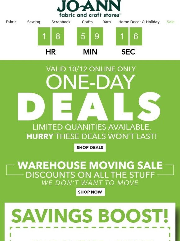 Jo ann fabric and craft store more one day deals for you for Joann craft store hours
