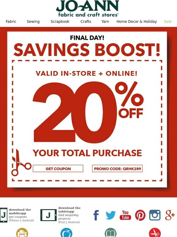 Jo ann fabric and craft store final hours better hurry for Jo ann fabric and craft coupons