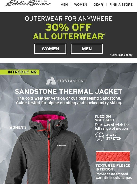 b1d2c74e0 Eddie Bauer: Introducing Sandstone Thermal | Milled