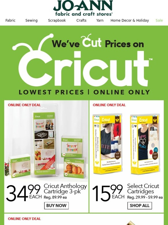 Jo ann fabric and craft store huge price cuts on cricut for Joann craft store hours